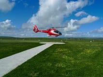L'hélicoptère dans l'héliport, parc national de campbell, Australie Photo libre de droits