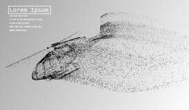L'hélicoptère des particules L'hélicoptère est en panne en petites molécules Illustration de vecteur Images libres de droits