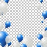 L'hélium bleu et blanc monte en ballon sur le fond transparent Ballons de latex de vol illustration stock