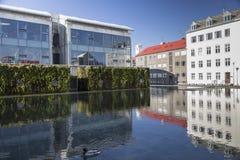 L'hôtel et l'étang de ville de Reykjavik avec de la mousse ont couvert des murs Image libre de droits