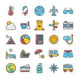 L'hôtel et le voyage ont coloré des icônes de vecteur ont placé 3 illustration libre de droits