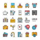 L'hôtel et le voyage ont coloré des icônes de vecteur ont placé 2 illustration de vecteur