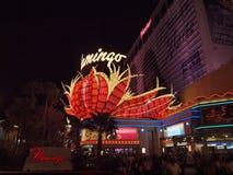 L'hôtel célèbre de flamant avec les enseignes au néon iconiques la nuit Image libre de droits