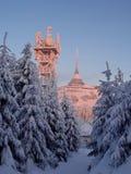 L'hôtel et l'émetteur ont plaisanté dans l'horaire d'hiver Photo stock