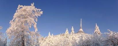 L'hôtel et l'émetteur ont plaisanté dans l'horaire d'hiver Images stock