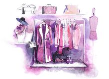 L'habillement des femmes sur le support, accessoires façonnent l'équipement Achats illustration stock