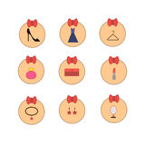 L'habillement et les choses des femmes dans les icônes Photos libres de droits