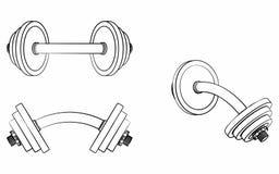 L'haltère a courbé, contour différent comme des traçages illustration de vecteur