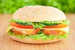 L'hamburger avec chiken images stock