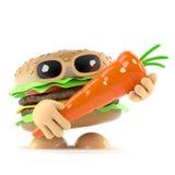l'hamburger 3d ama le carote illustrazione di stock