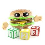l'hamburger 3d impara contare illustrazione vettoriale