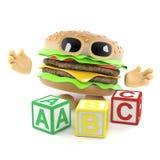 l'hamburger 3d impara il suo alfabeto illustrazione di stock