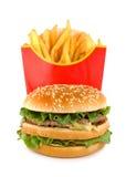 L'hamburger e la patata hanno isolato Fotografia Stock Libera da Diritti