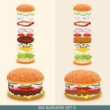 L'hamburger a placé 6 Photo libre de droits