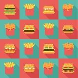 L'hamburger senza cuciture del modello frigge, progettazione piana di duo dinamico Immagine Stock Libera da Diritti