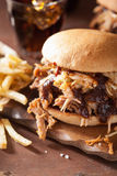 L'hamburger tirato casalingo della carne di maiale con insalata di cavoli ed il bbq sauce Immagine Stock Libera da Diritti