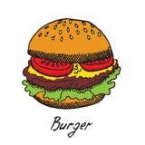 L'hamburger traditionnel avec les tranches fraîches de tomates, le fromage de cheddar et la laitue poussent des feuilles illustration stock