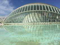 The L'Hemisfèric building. Close up from The L'Hemisfèric building at the City of Arts and Sciences in Valencia Spain Royalty Free Stock Images