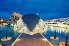 L'Hemisfèric in Valencia, Spain. VALENCIA, SPAIN - APRIL 20, 2014: Evening view over the L'Hemisfèric, a IMAX 3D-cinema, planetarium and laserium in the Stock Photography