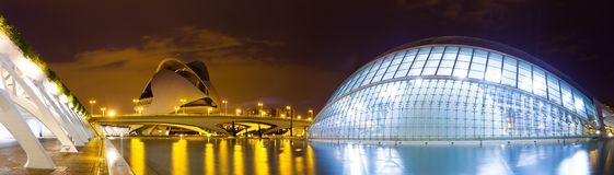 L'Hemisferic and El Palau de les Arts Reina Sofia in evening ti. VALENCIA, SPAIN - AUGUST 26:  Panoramic view of City of Arts and Sciences on August 26, 2013 in Stock Photo