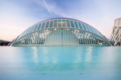 L'Hemisfric at sunset in City of Arts and Sciences Royalty Free Stock Photos