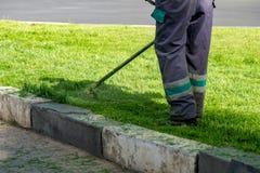 L'herbe de coupe de jardinier par la tondeuse ? gazon photos stock