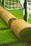 L'herbe de gazon roule sur le terrain de football image stock