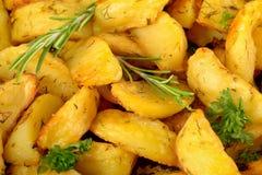 L'herbe a fait le fond cuire au four de tranches de potatoe photos libres de droits