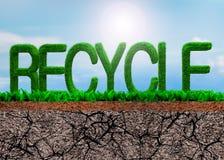 L'herbe verte RÉUTILISENT dedans la forme de mot photos libres de droits