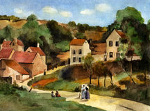 L'Hermitage à Pontoise. Watercolor reproduction from oil painting Camille Pissarro L'Hermitage à Pontoise Royalty Free Stock Image