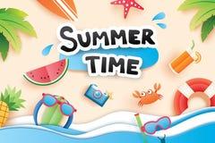 L'heure d'été avec le papier a coupé l'icône de symbole pour le backgr de plage de vacances illustration libre de droits