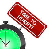 L'heure de se dépêcher indique la grande vitesse et le mouvement Photo libre de droits