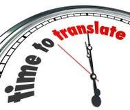 L'heure de traduire la langue interprètent l'horloge comprennent différent Image stock