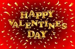 L'or heureux de jour de valentines marque avec des lettres des ballons de ballons sur le rouge Je t'aime carte de jour de valenti Images libres de droits
