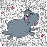 L'hippopotame de sourire gai rebondit  Illustration de griffonnage illustration de vecteur
