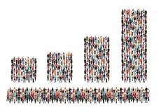 L'histogramme dresse une carte le groupe de personnes de ventes de croissance des bénéfices d'affaires su Photos libres de droits