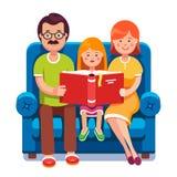 L'histoire de lecture de maman, de papa et de fille réservent ensemble illustration stock