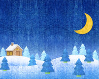 L'hiver aménage la nuit en parc Photographie stock libre de droits