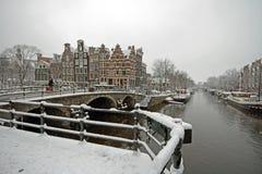 L'hiver aux Pays Bas d'Amsterdam Photographie stock libre de droits