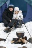 l'hiver campant Photographie stock libre de droits