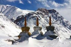 l'hiver d'arbre de stupas de l'Himalaya Photo stock
