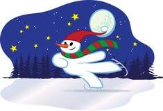 L'hiver de bonhomme de neige patinant - Noël Image stock