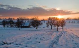 l'hiver de coucher du soleil Photographie stock