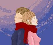 l'hiver de couples Photos libres de droits