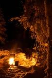 l'hiver de feu de camp Images stock