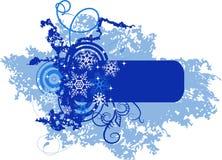 l'hiver de flocons de neige de drapeau illustration de vecteur