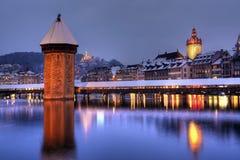 l'hiver de la Suisse d'horizon de lucerne Images stock
