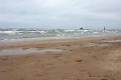 l'hiver de Michigan de lac de plage photographie stock