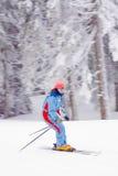 L'hiver de neige de ski de jeune femme image libre de droits
