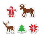 L'hiver de Noël pixelated des icônes réglées Image libre de droits